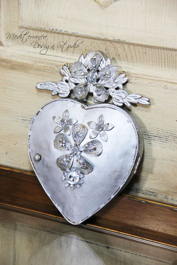 Metal heart, ex-voto, heart wall decor, heart mirror, Mediterranea ...