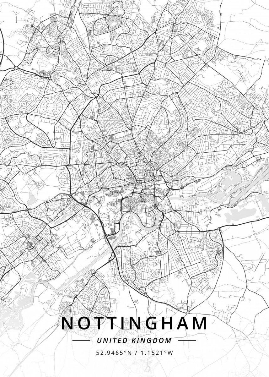 Nottingham, United Kingdom Maps Poster Print | metal posters - Displate | Displate thumbnail