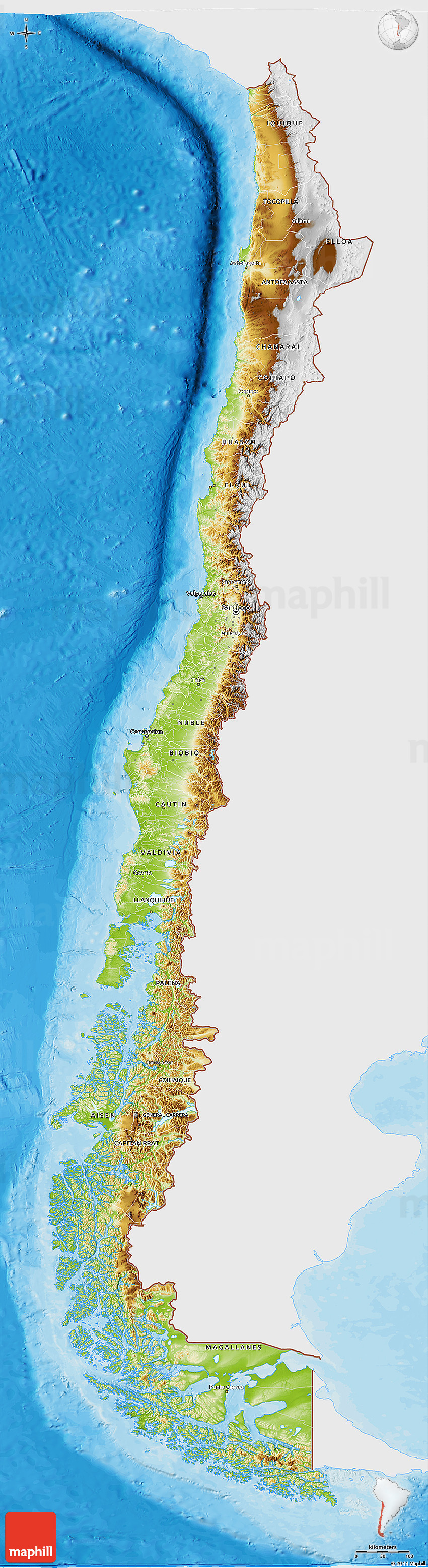Topographic #map of #Chile, by Maphill | ♧ Country_Map_Art