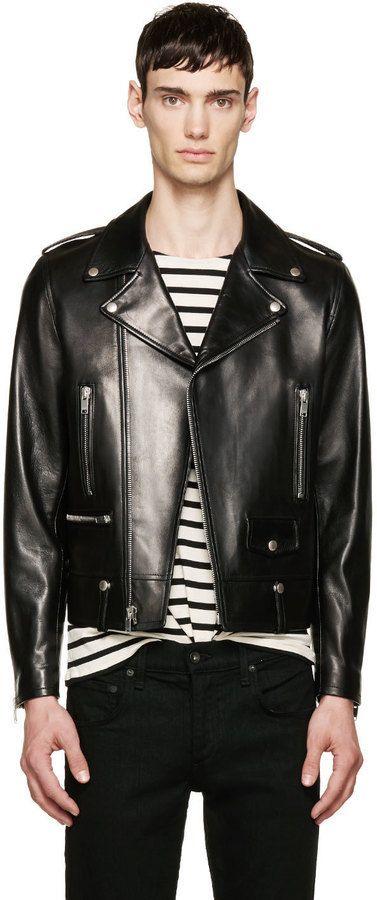$4,990, Black Leather Biker Jacket: Saint Laurent Black Leather Biker Jacket. Sold by SSENSE. Click for more info: https://lookastic.com/men/shop_items/290904/redirect