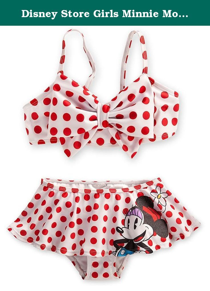 0d527b4bf817e Disney Store Girls Minnie Mouse 2-Piece Swimsuit Size Medium 7/8. This