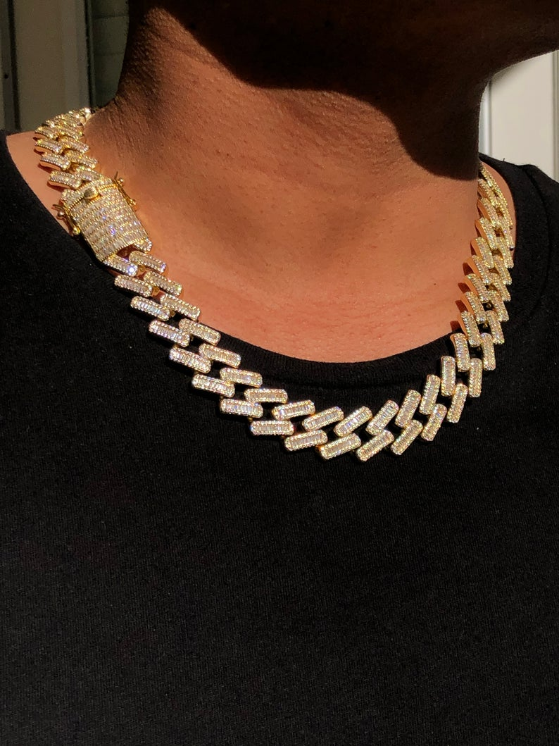 Men S Iced Out 18mm Miami Cuban Link Chain Necklace Etsy Chain Link Necklace Cuban Link Chain Cuban Link Chain Necklaces