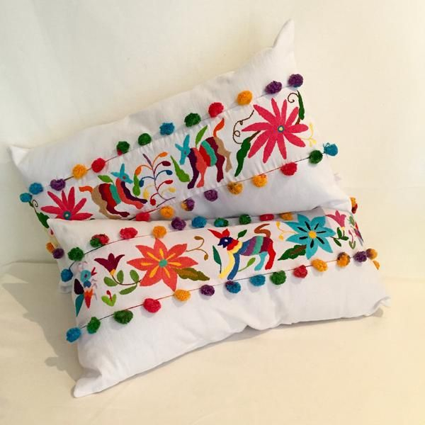 Otomi Pillow Case Made From Hand Embroidered Otomi Fabric. 25 X 50 Cm/ 10