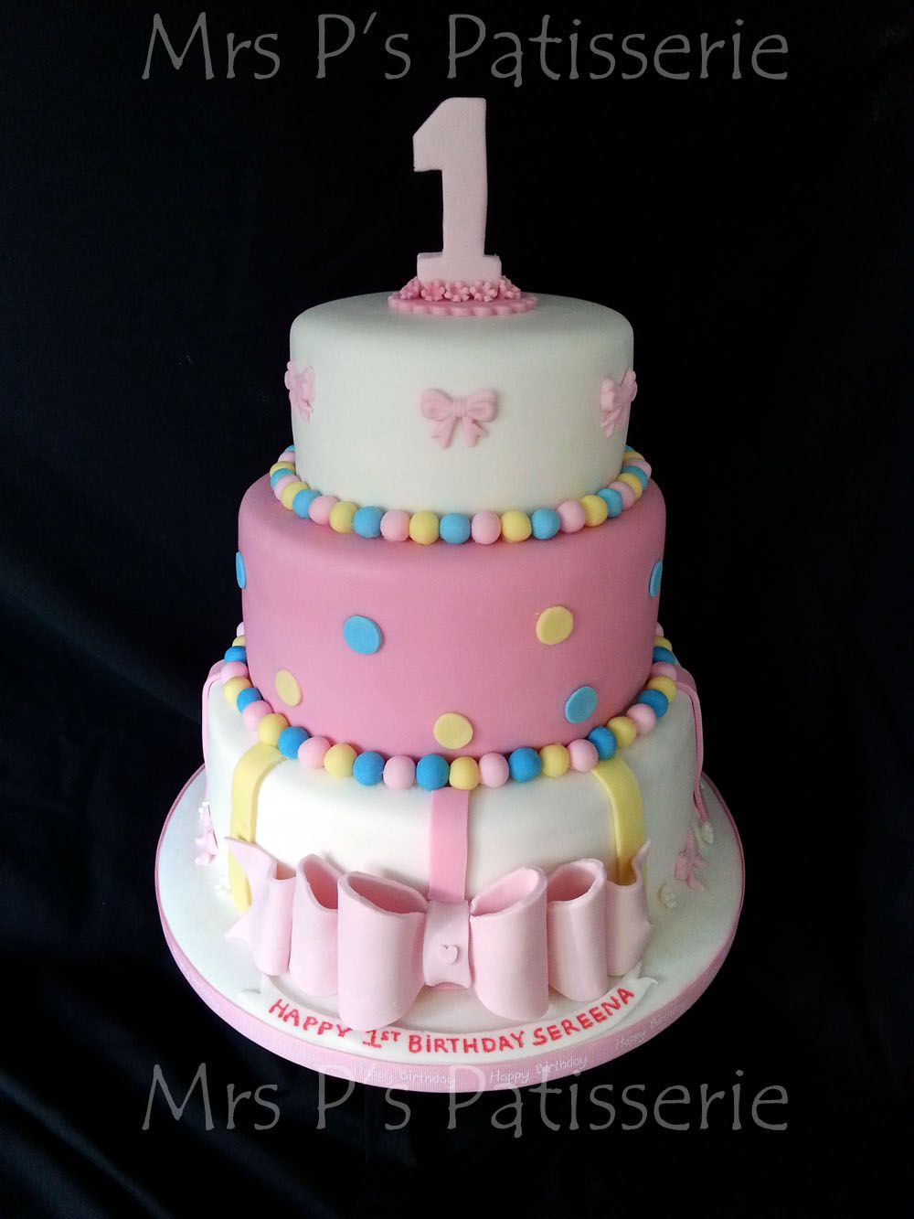 3 Tier Pink And White First Birthday Cake