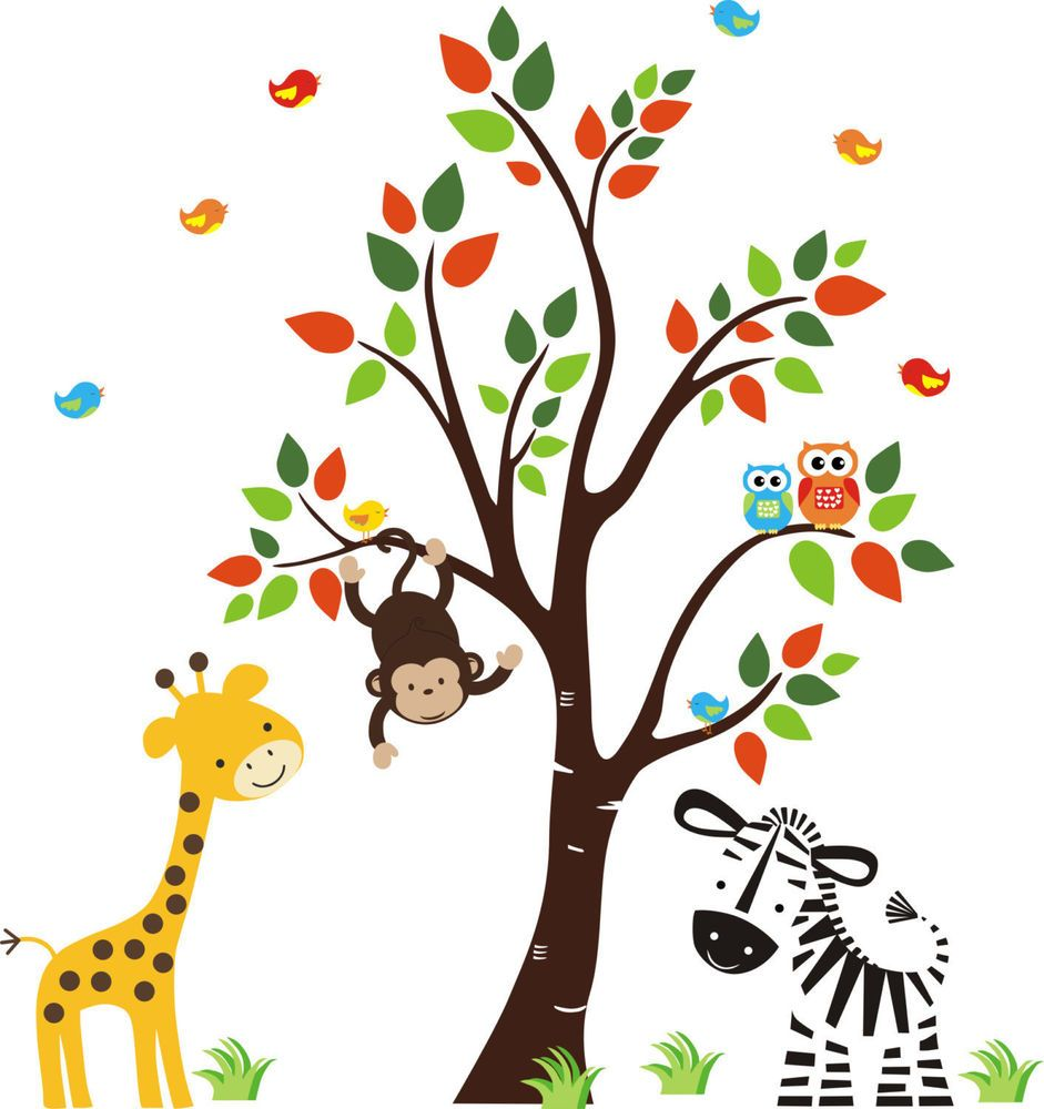Animal Wall Decals Baby Room Wall Stickers Jungle Animal Wall