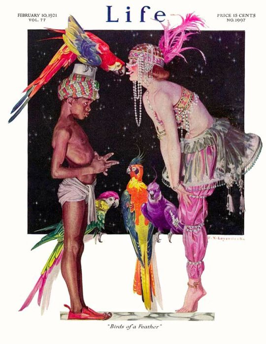 'Birds of a Feather' Cover For Life Magazine February 1921 by Frank Xavier  Leyendecker.