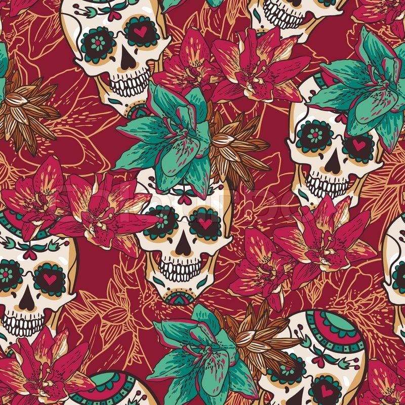 Hearts And Skulls Backgrounds Skull Hearts And Flowers