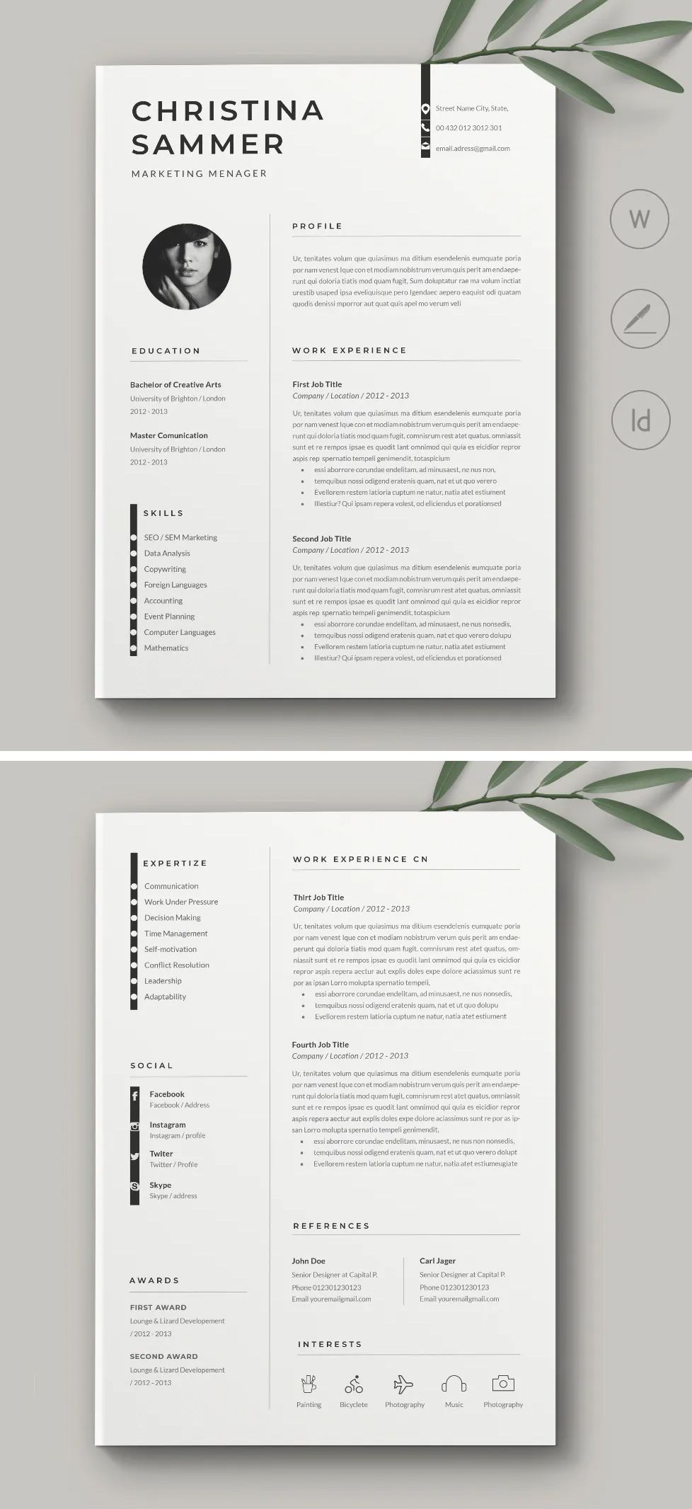 Resume Cv Template Ms Word Indesign In 2020 Cover Letter For Resume Cv Words Cv Template