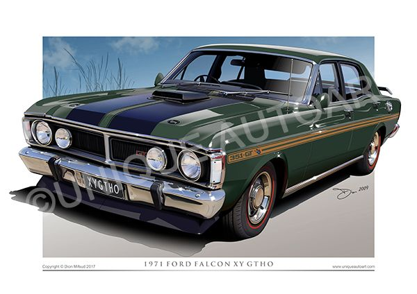 Xy Gtho Car Art Gifts For Men Ford Gifts Car Prints Car Drawings Automotive Art