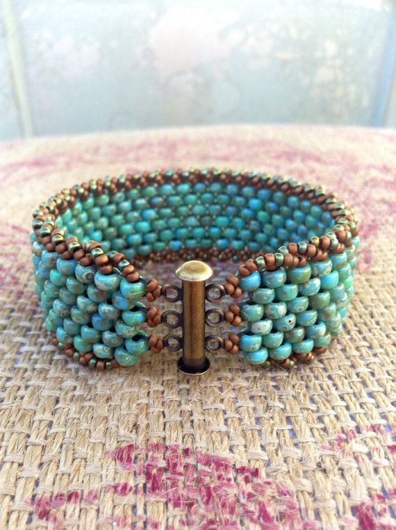 RESERVED for Regine ~Peyote Colorful Turquoise Beaded Cuff ~Bohomian Country Rustic Everyday Fashion ~ Peyote Chic by Country Chic Charms