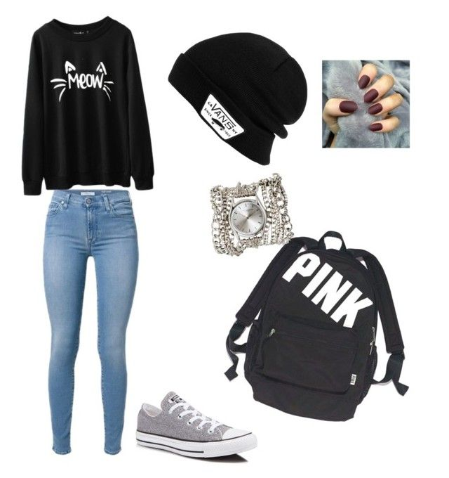 """<3"" by mariekhachtrian ❤ liked on Polyvore featuring beauty, Victoria's Secret, Converse, Sara Designs and Vans"