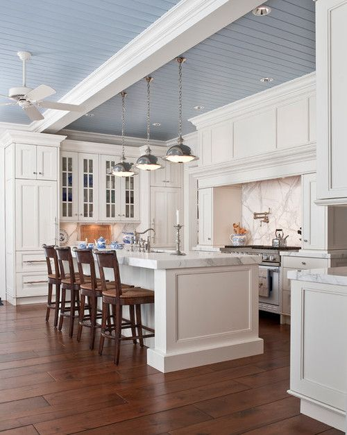 Kitchen High Ceilings Exposed Beams Painted Ceiling Boards Love The Blue Ceiling With The White Cabinets White Marble Kitchen Kitchen Marble
