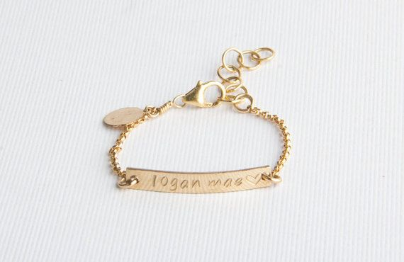 Baby Bracelet Personalized Bar By Pixleypressed