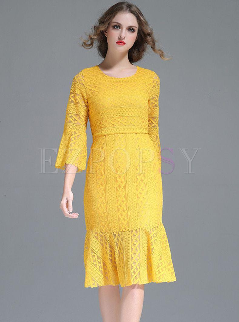 Yellow Lace Flare Sleeve Slim Mermaid Dress | Dresses ...