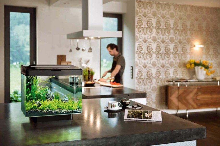 Small Aquarium As Interior Design Element Mediterranean Living Rooms House Design Interior Design Elements