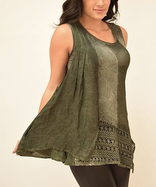 Look at this Simply Couture Green Crochet Panel Tank on #zulily today!