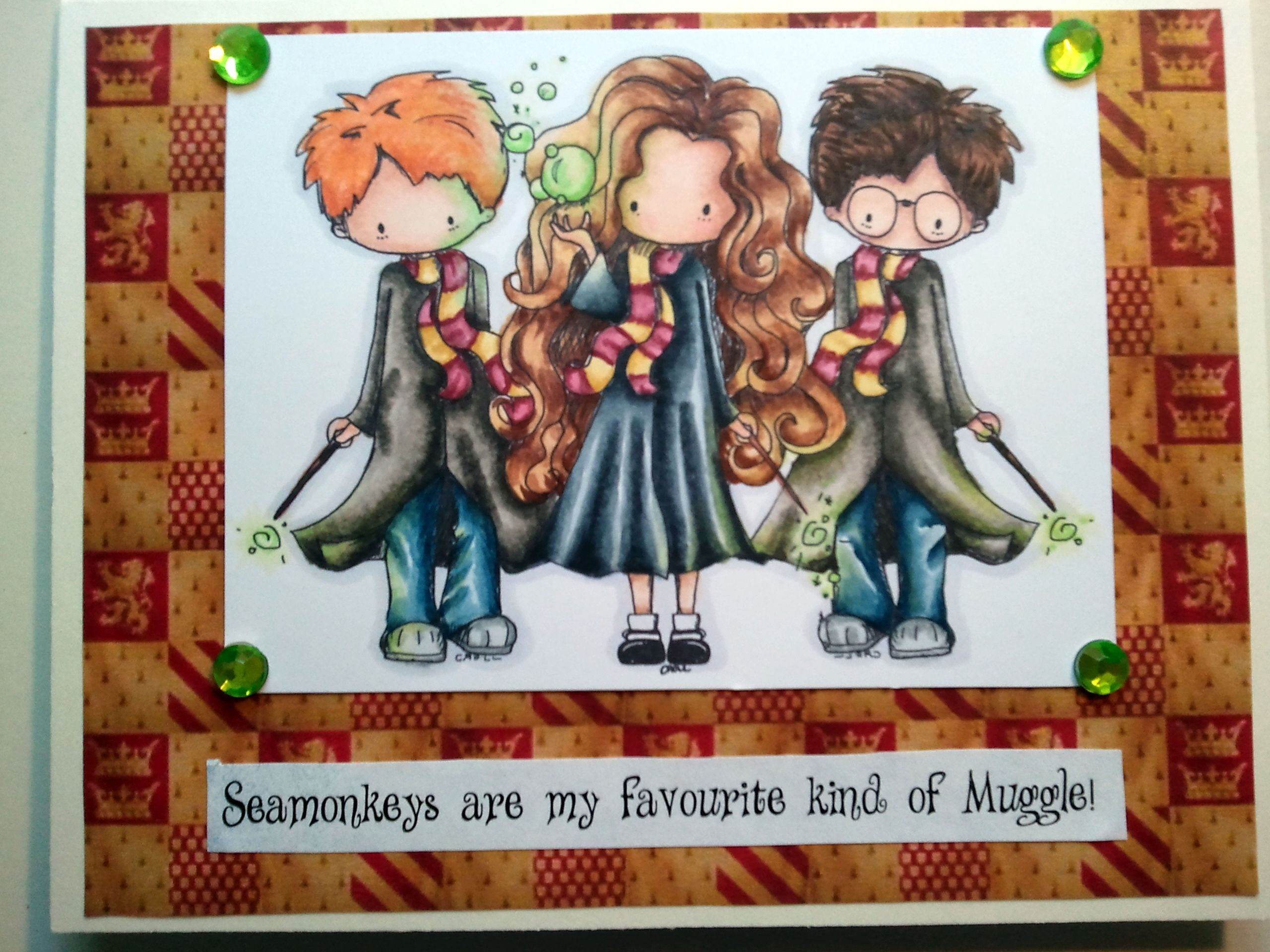 Harry Potter card - my favourite kind of Muggle. Tiddly Inks Wizards and Wizardette.