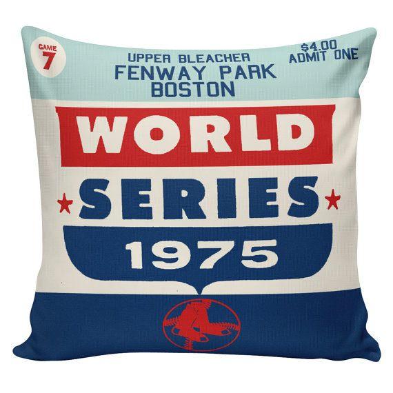 Baseball Pillow Boston Red Sox Vintage by ElliottHeathDesigns