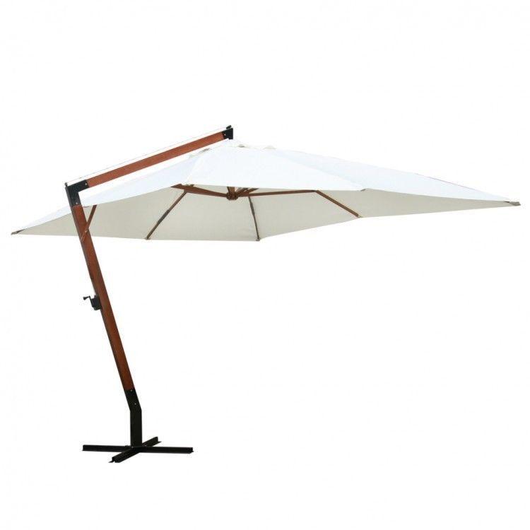 Outdoor Garden Parasol Umbrella Shade White Sun Protection Wooden