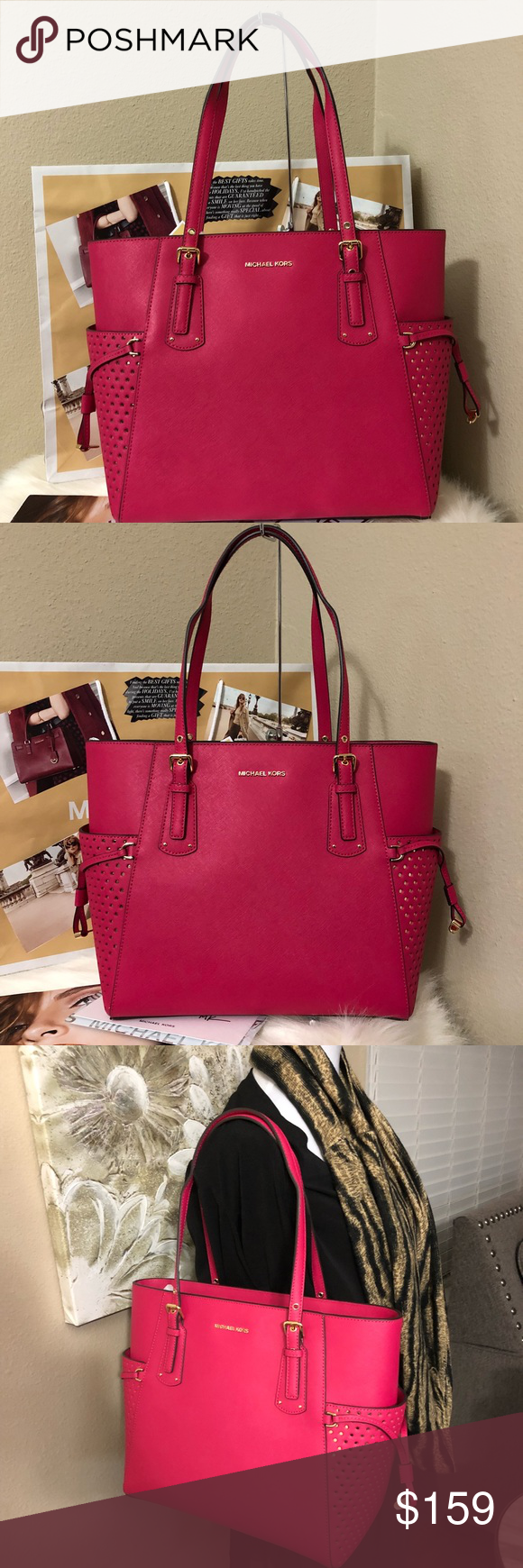 80d0be9c39f360 NWT Michael Kors Ultra Pink EW Jet Set Tote NWT Michael Kors Voyager  Saffiano Leather Tote
