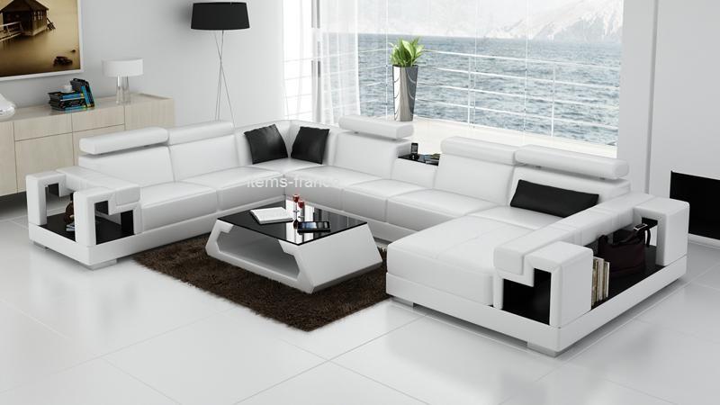 Canapé d angle blanc pour 7 personnes chez ms france