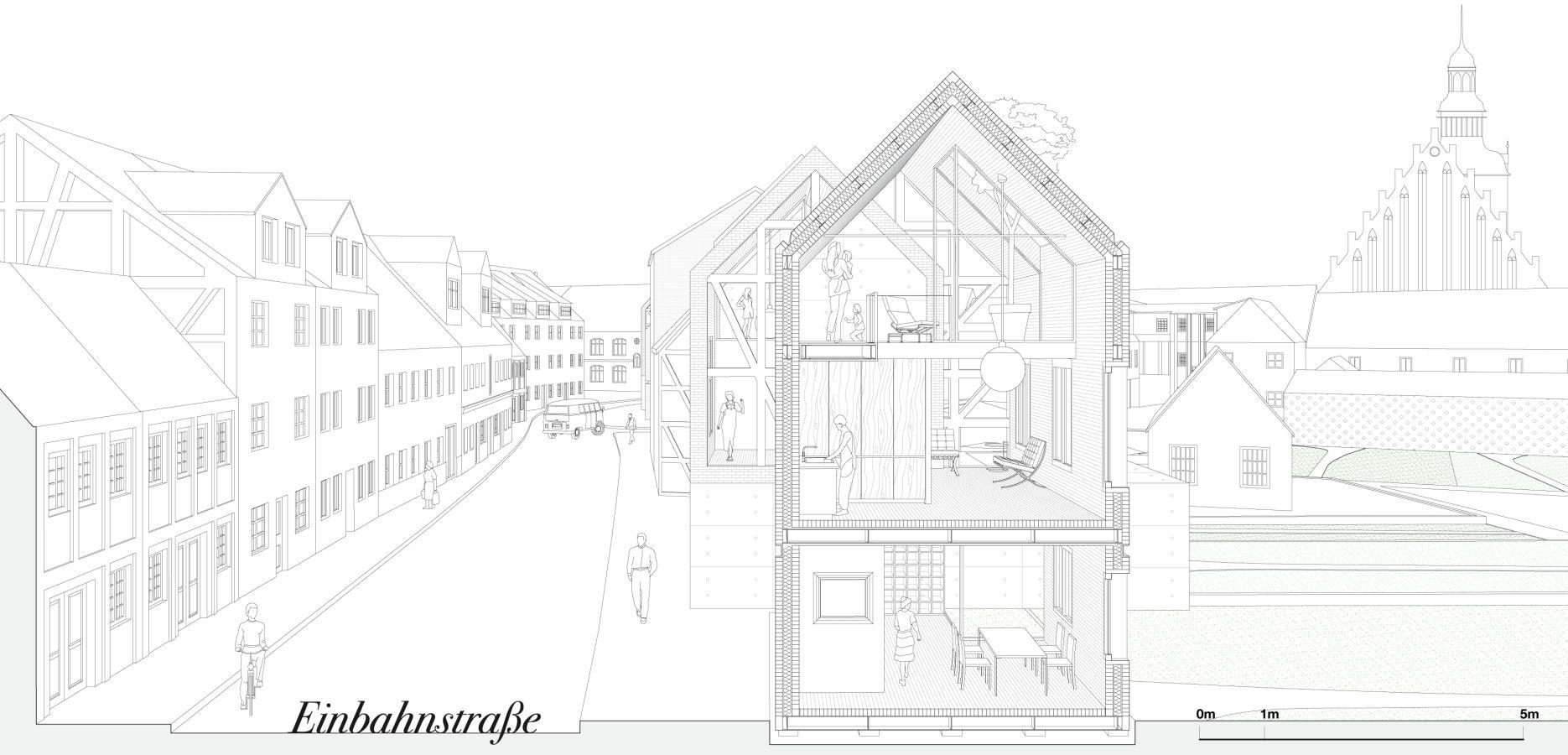 Gosplan einbahnstrasse · coupe en perspectivedessins darchitecturearchitecture contemporaineconstructivisme