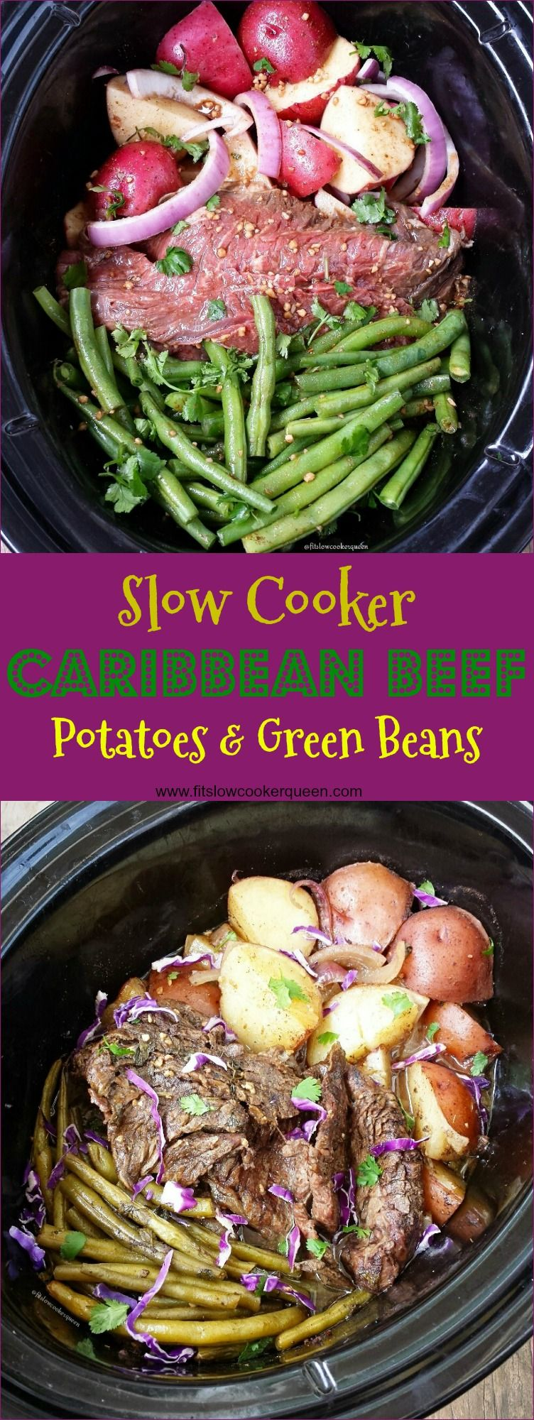 Crockpot / Slow Cooker healthy whole30 paleo - A healthy, homemade sauce Caribbean flavored sauce slow cooks on top of beef, potatoes and green bean for this complete slow cooker meal. #healthycrockpots