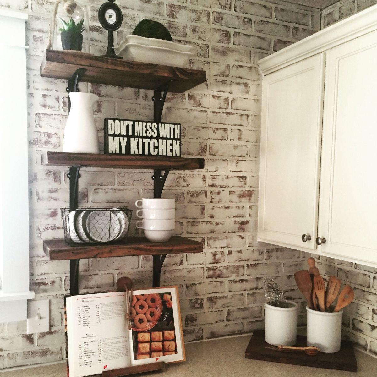Antique White Kitchen General Finishes 2018 Design Challenge Antique White Kitchen Brick Wall Paneling Kitchen Remodel