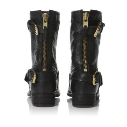 a1b5a212c14 dune ladies black gold buckle trim leather biker boot, dune shoes ...