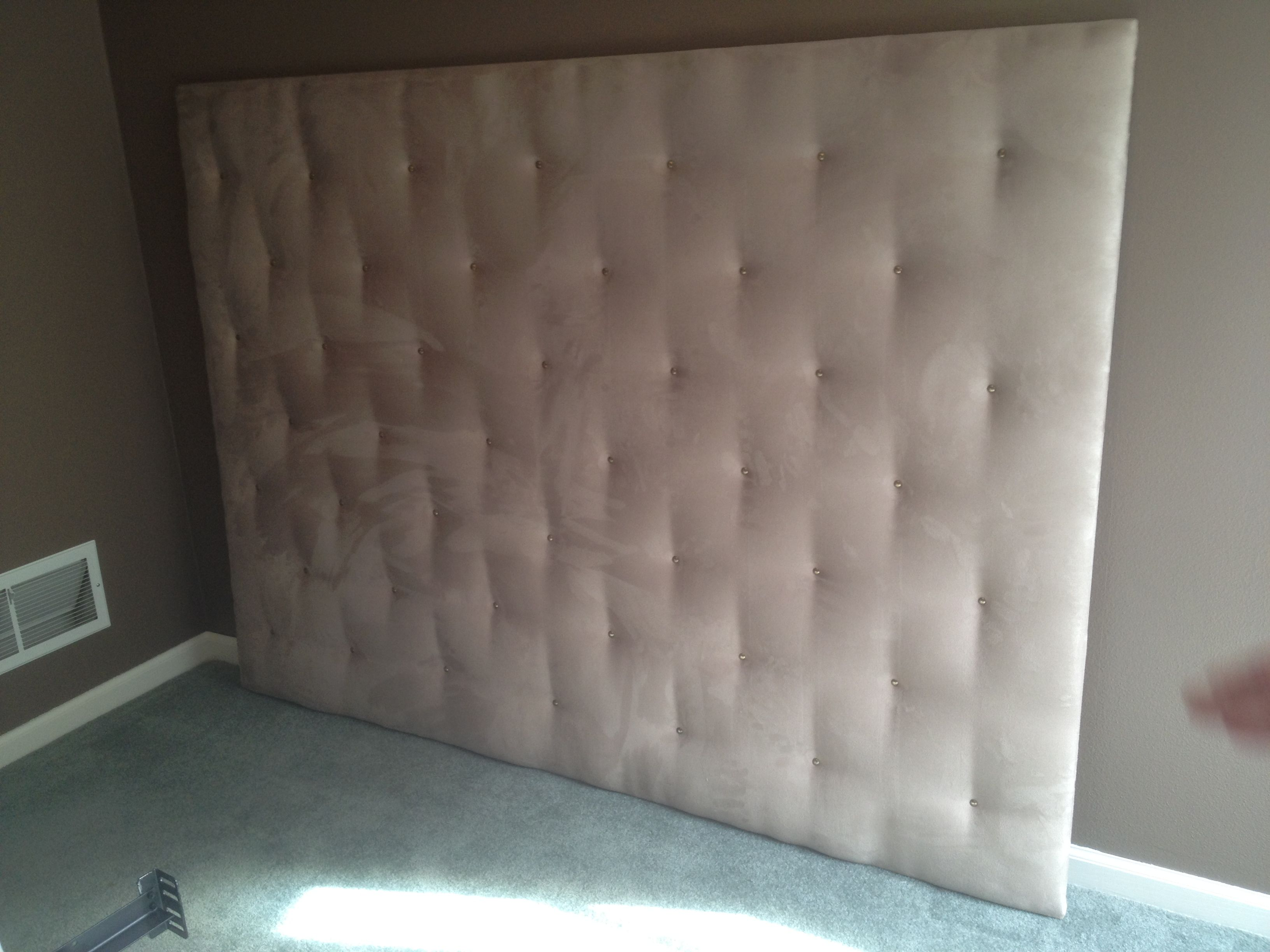 Homemade Headboard $60 Plywood batting suede and upholstery