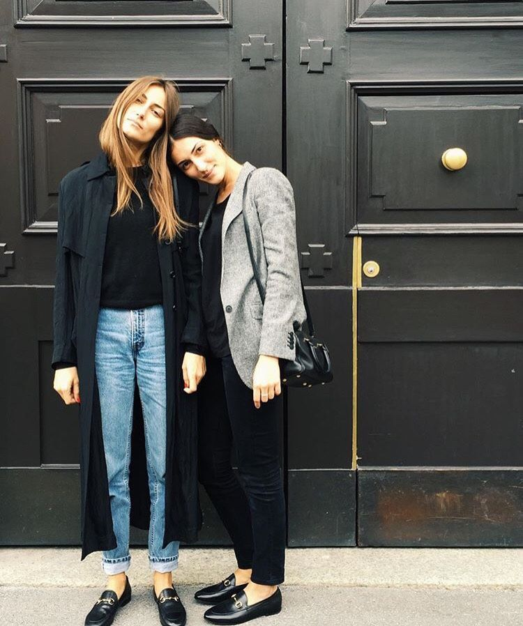 b318c79d0 Tordini sisters, jeans, blue trench coat, grey blazer, flat shoes, Gucci  Loafers, street style