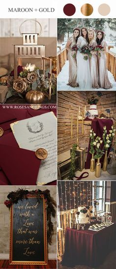 maroon red and glitter gold winter wedding color ideas  maroon red and glitter gold winter wedding color ideas