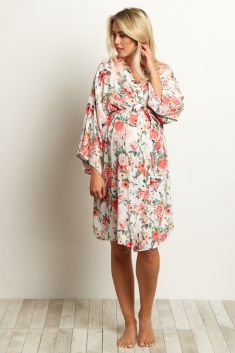 8c4879a5460aa Ivory Floral Delivery/Nursing Maternity Robe | Pregnancy | Maternity ...
