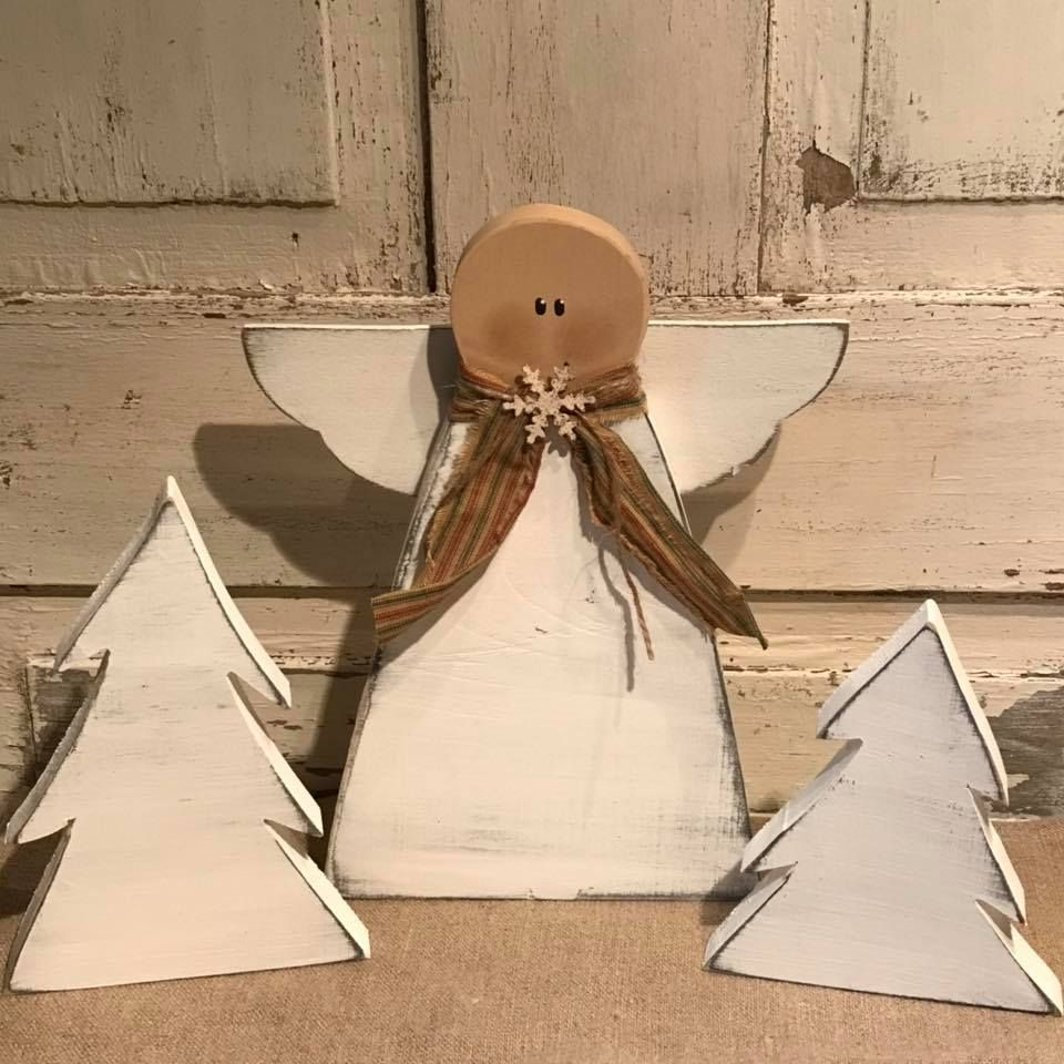 Primitive Wood Angel And Trees Color Choices Christmas Angel Crafts Christmas Wood Crafts Christmas Wood