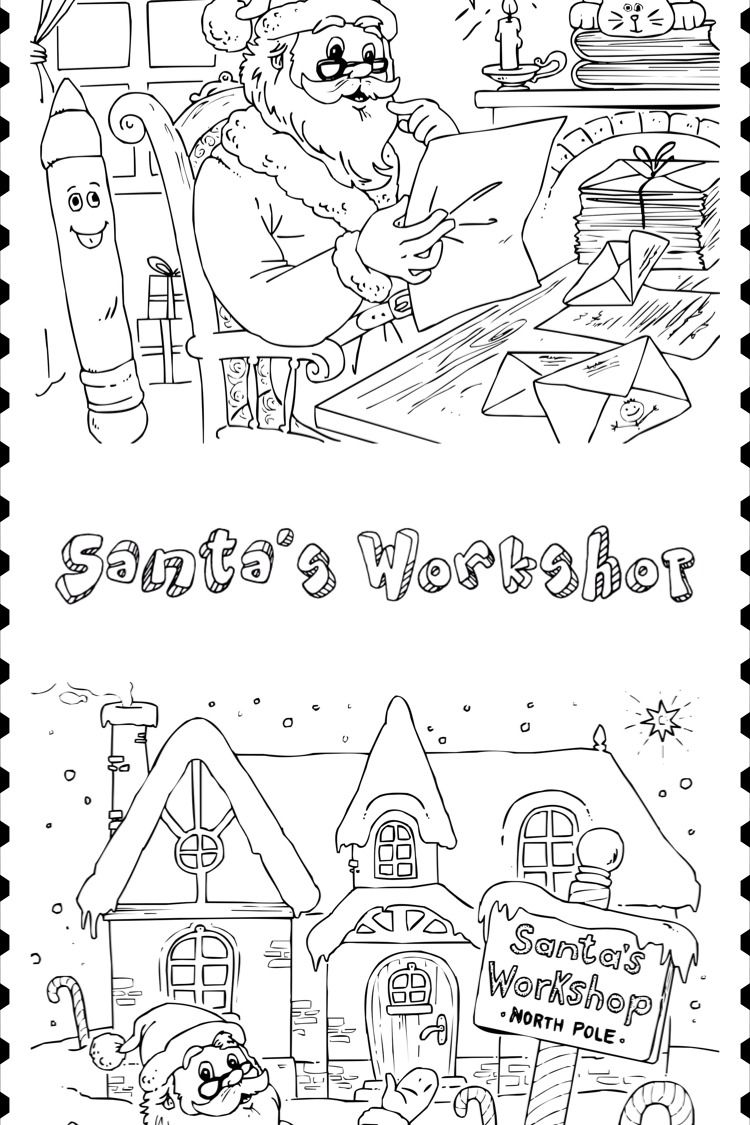 Santa S Workshop Coloring Pages Santas Workshop Coloring Pages