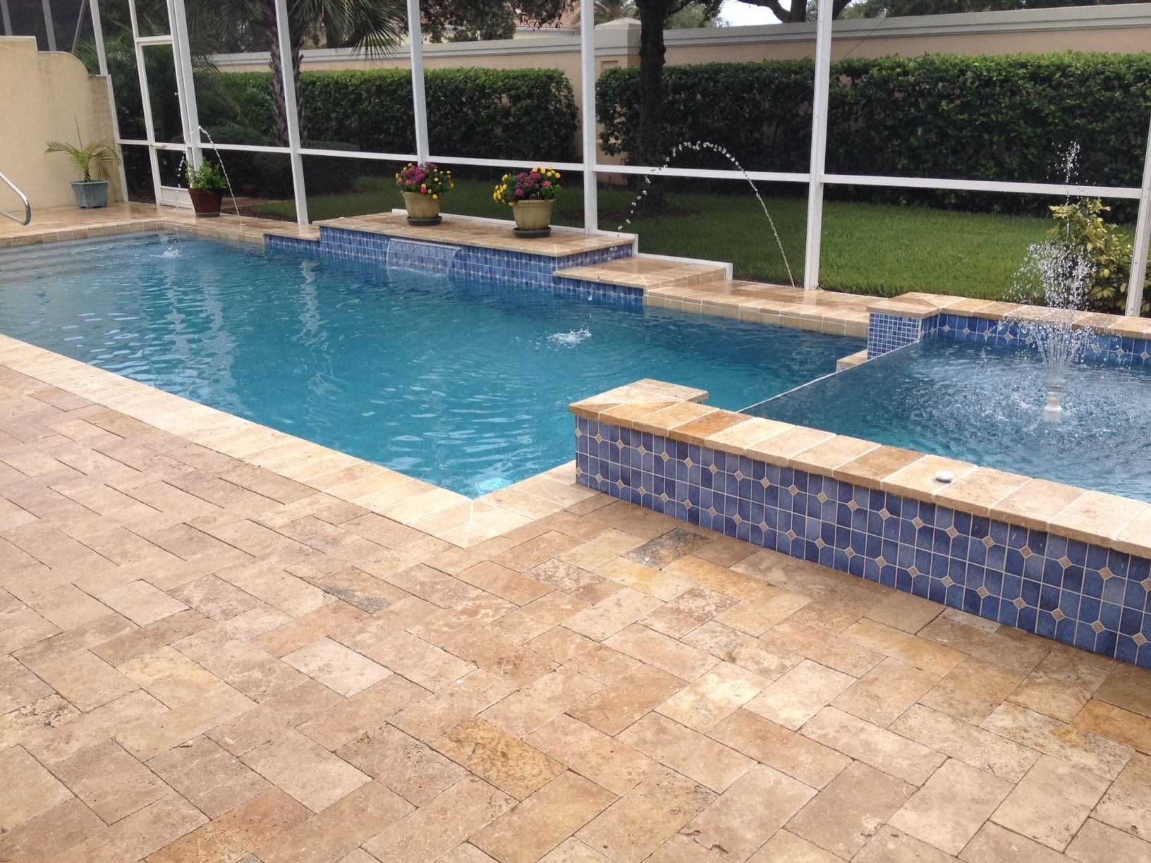 Sealing exposed aggregate pool deck - Honed Ivory Travertine Pavers Pool Deck Natural Ivory Travertine Pavers Two Level Small Swimming Pool Flowers