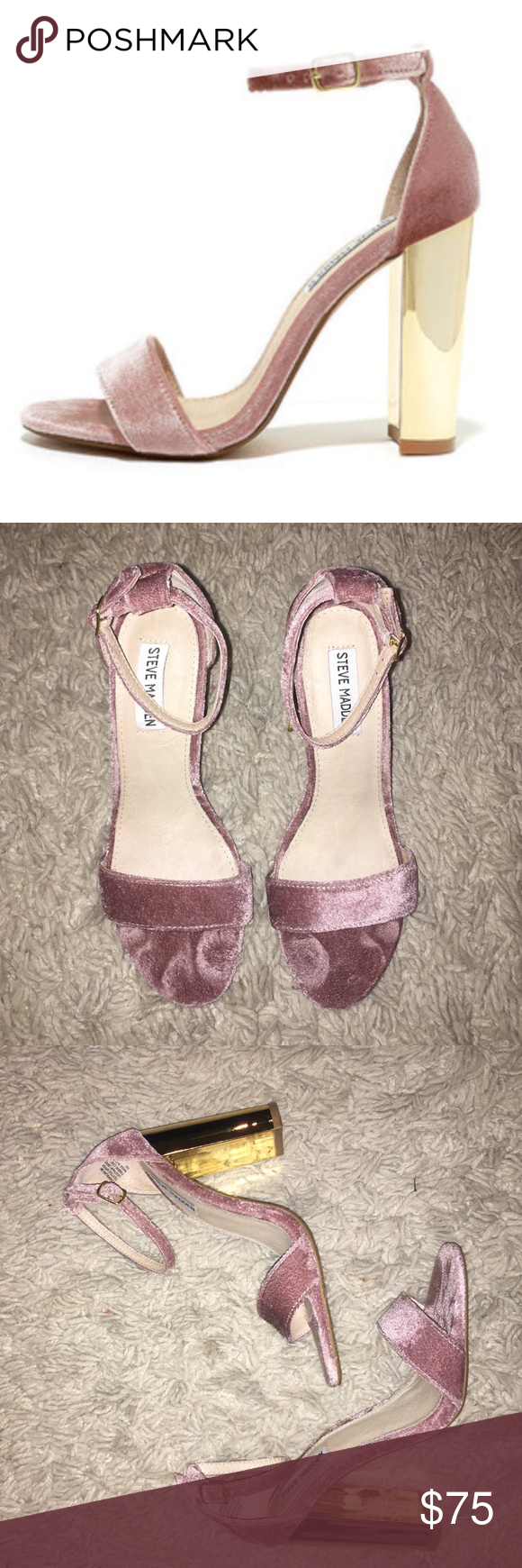 124da5ba171 Steve Madden Carrson Blush  pink velvet Carrson with gold heels. Worn a  couple times great condition. A few scratches on the gold as shown above.
