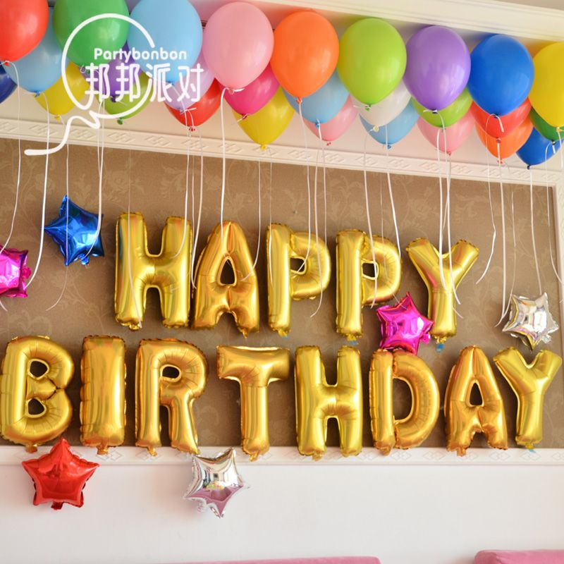 Baby Boy 1 Year Old Birthday Balloons Theme 16 Incha Large Party Decoration Aluminum Foil Balloon Letter Shape