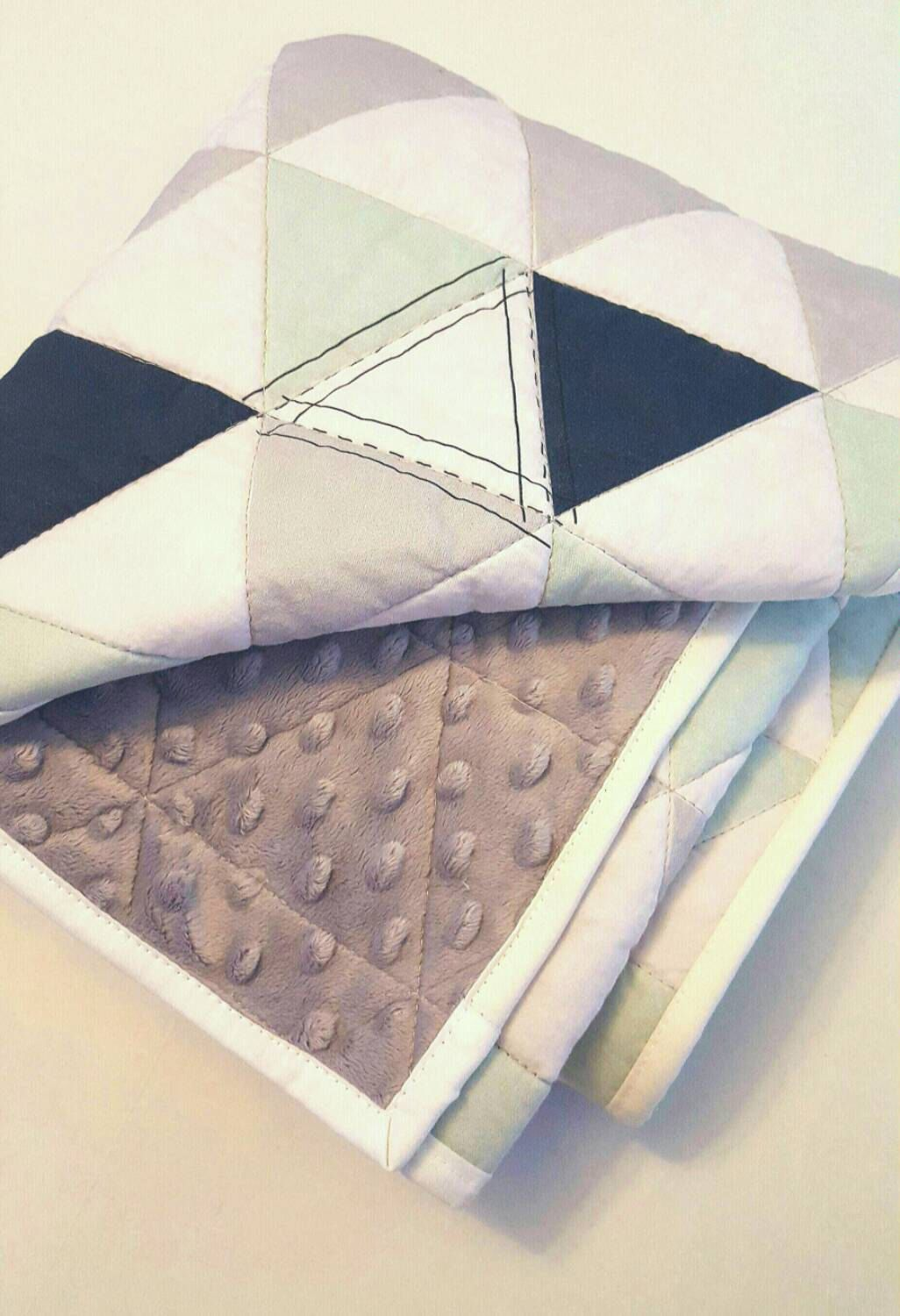 Hamptons Triangles crib quilt - Navy Mint Gray - baby bedding by ...