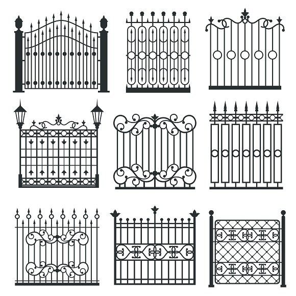 Metal Iron Gates Set Pattern Vectors Iron Gate Design Wrought Iron Gate Designs Iron Gates