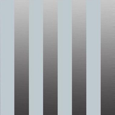Carta da parati a righe larghe argento e grigio