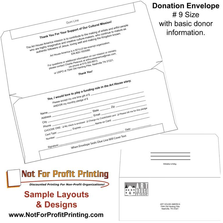 Sample Layouts Designs For Donation Envelopes And Inside