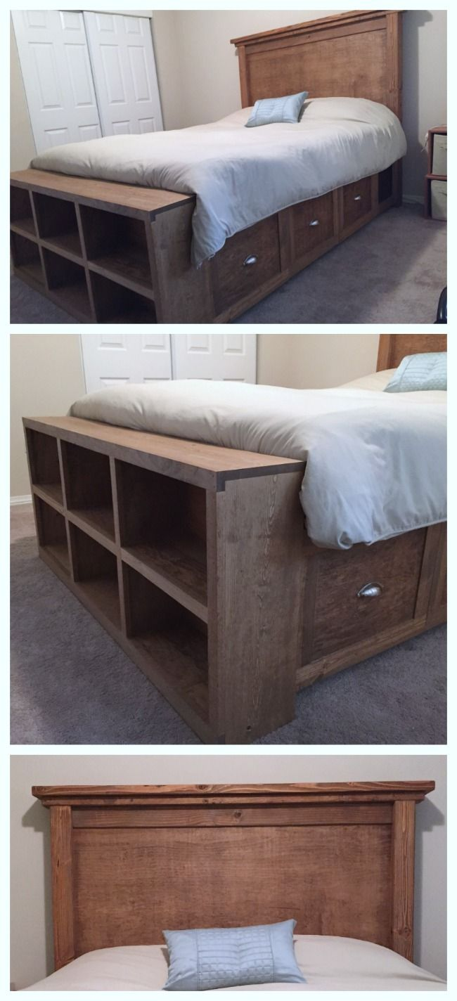 Ana White | Farmhouse Bed with Storage and Bookshelf footboard - DIY ...