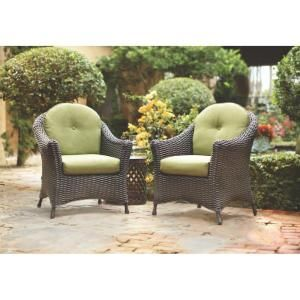 Martha Living Lake Adela Patio Charcoal Chat Chairs With Cilantro Cushions 2 Pack