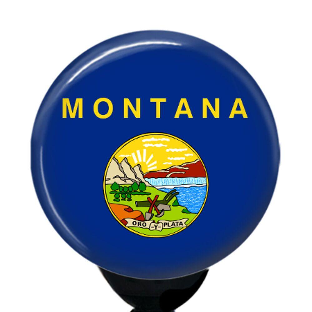 Custom montana flag badge reel retractable id name card