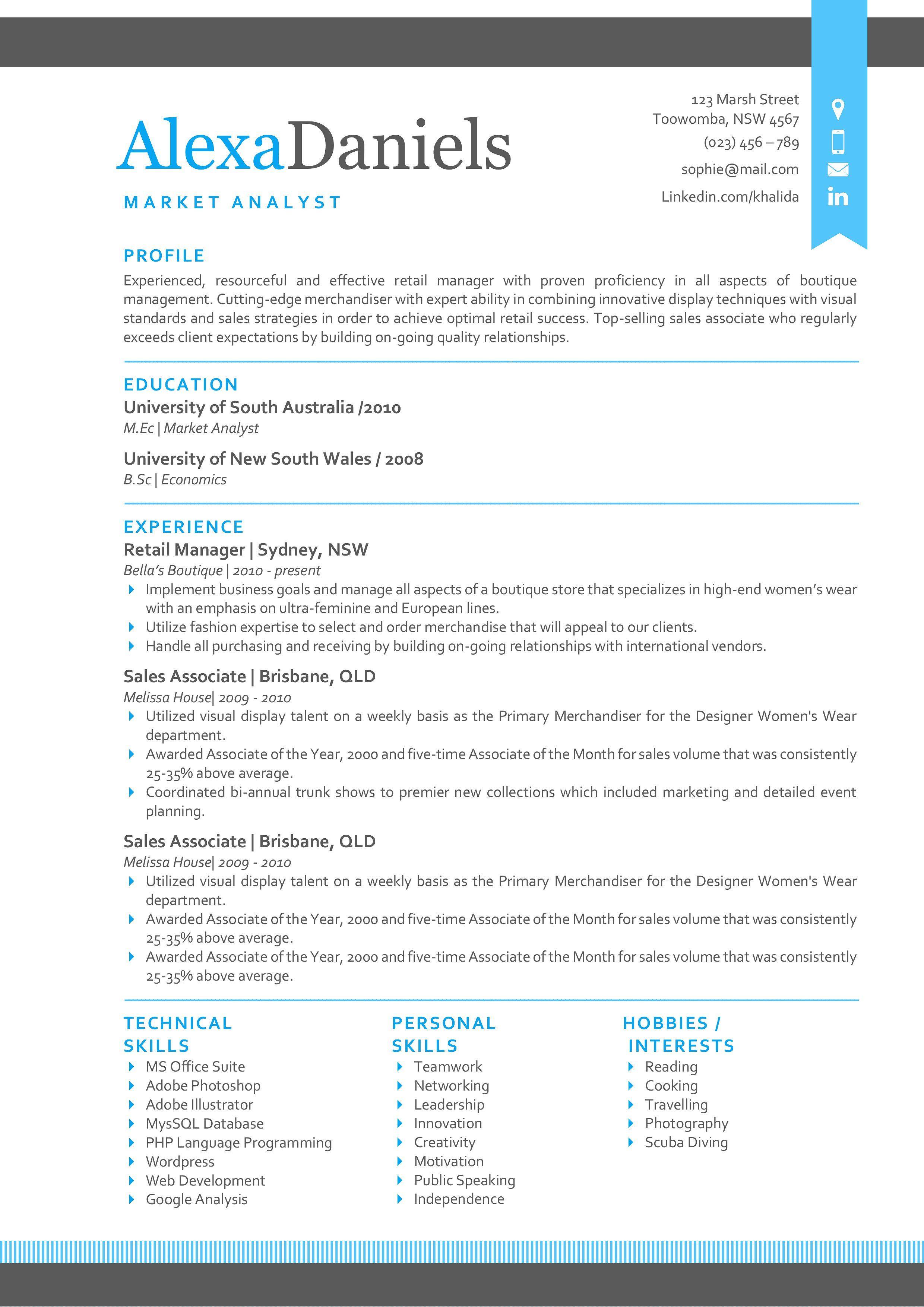 Blue 3 in 1 ribbon modern resume modern resume