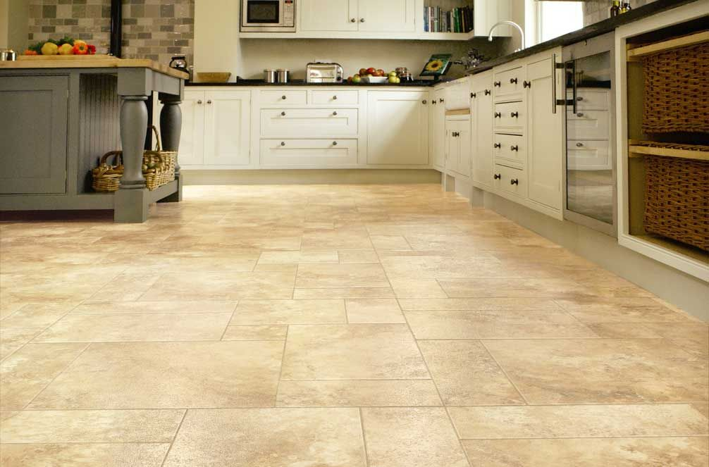 Kitchen vinyl effect flooring tiles planks karndean for Pictures of floor tiles for kitchens