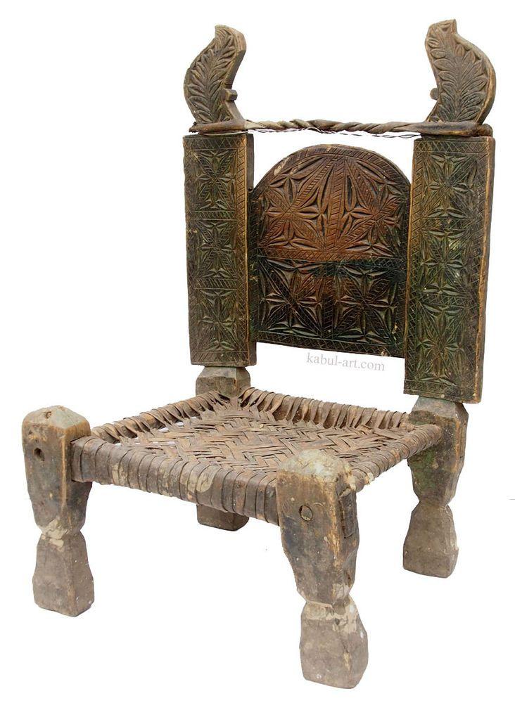 antik orient Holz und Leder Stuhl Chair Nuristan Swat Pakistan