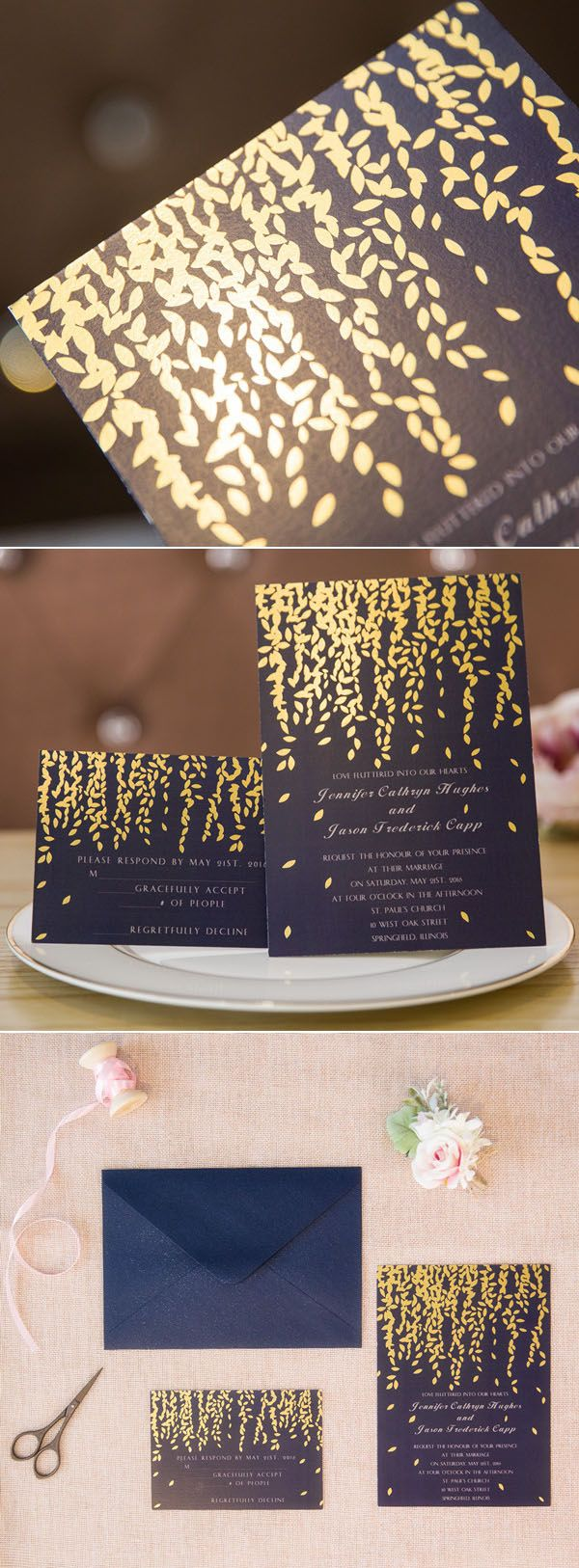 Leaves themed navy blue and gold foil wedding invitations elegantwinvites