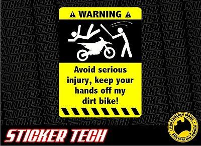 Details About Warning Dirt Bike Sticker Decal Suits Fmx Honda